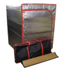 Radiant sauna tent, bamboo sauna mat, and tent travel bag.