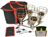This Convertible Bundle 240 volt AU sauna lamp with sauna accessories and black with red trim portable storage bag and pouches.