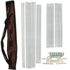 Convertible sauna tent frame assembly poles, connectors and brackets with brown portable storage bag.