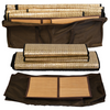Convertible sauna tent radiant panels and two bamboo mats with brown portable storage bag.