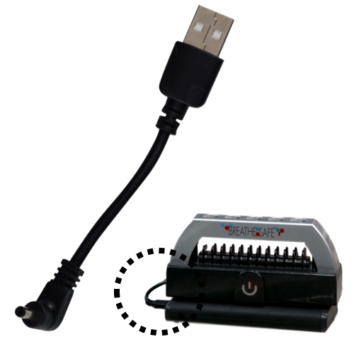 Breathe Safe short power cable for powering the Breathe Safe Portable Plasma Generator via laptop or separate portable battery pack.