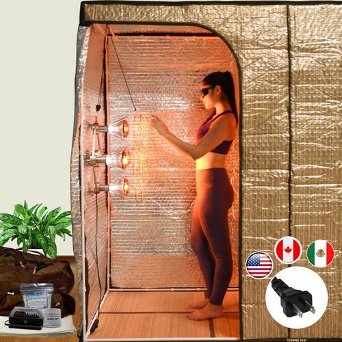 The Sauna Fix Hot Yoga Exercise Bundle tent sauna system includes the sauna tent, Sauna Fix 110 volt lamp, body mineral balancing food salts and the Breathe Safe sauna ion generator.