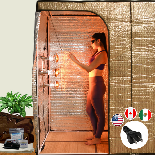 The Sauna Fix Hot Yoga Exercise Bundle tent sauna system includes the sauna tent, Sauna Fix 110 volt lamp, body mineral balancing food salts and the Breathe Safe sauna ion generator.