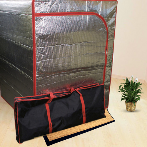 The Sauna Fix radiant near infrared sauna tent with tent travel bag and bamboo tent floor mat at Go Healthy Next.