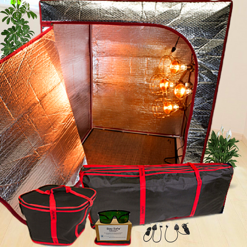 The Sauna Fix Travel Bundle USA 110 volt portable near infrared sauna at Go Heatlhy Next.