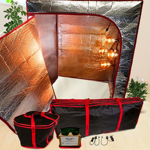 Sauna Fix Travel Bundle 110 Volt INTL NIR Sauna features the Sauna Fix lamp, radiant sauna tent, Stay Safe glasses and an organic Bamboo Fleece throw rug.