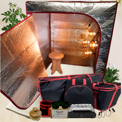The Sauna Fix Ultimate Bundle 110 volt USA portable NIR sauna includes a near infrared sauna lamp, radiant sauna tent, poplar sauna stool, travel/storage bags, ionic sauna booster and spa sauna accessories.