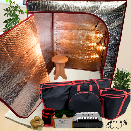 Sauna Fix Ultimate Bundle INTL 110 Volt NIR Sauna ships internationally to countries with 110 volt outlets.