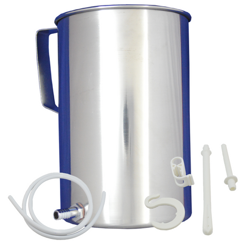 Latex-free Stainless Steel Enema Bucket Kit 2 Liter with silicone tubing and rectal and vaginal tips at Go Healthy Next