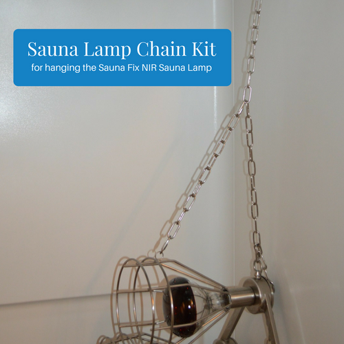 Sauna Lamp Chain Kit for hanging the Sauna Fix near infrared sauna lamp in a shower, on a door, or inside the radiant sauna tent.