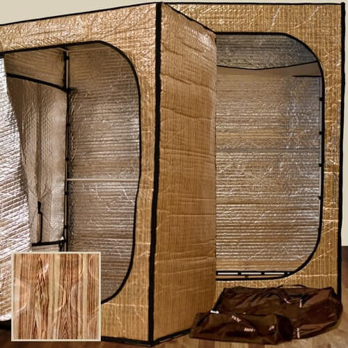 """The portable indoor Convertible Radiant sauna tent interior is now 6'5"""" (1.98 meters) tall with an attractive, golden wood-grain exterior. Travel/storage bags included with tent purchase. Sauna Fix NIR lamp sold separately."""