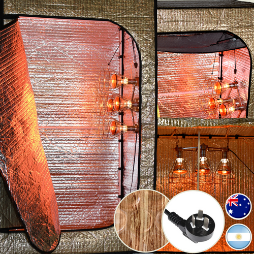 The Sauna Fix near infrared 240 volt plug type I Convertible Bundle tent sauna system is compatible with outlets in Argentina, Australia, Fiji and New Zealand.