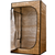Convertible radiant sauna tent angle view with drop-ceiling lowered for tent use in the standing position.