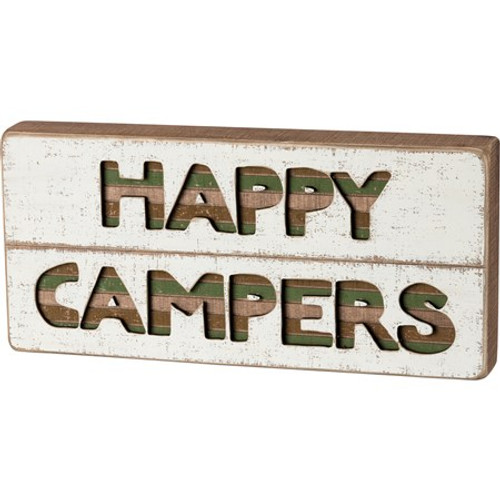 Slat Box Sign - Happy Campers