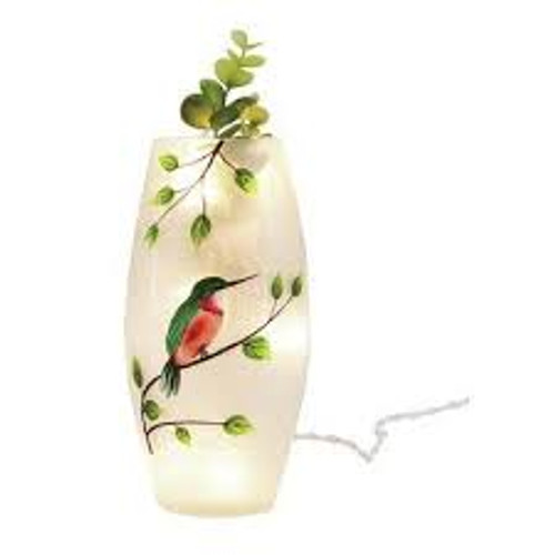 Crackle Glass LED Hummingbird Vase
