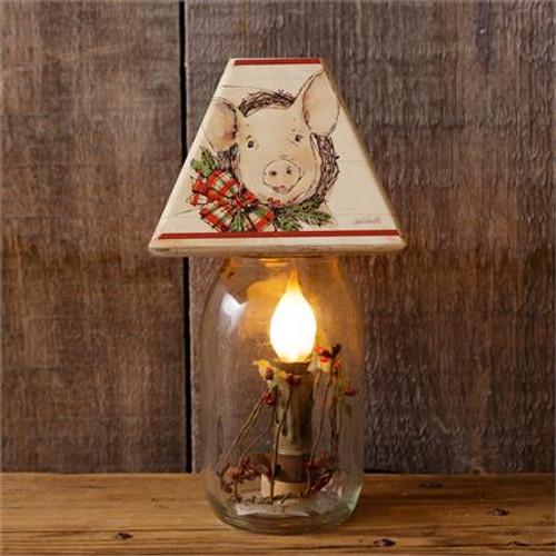 Electric Jar Light - Farmhouse With Pig