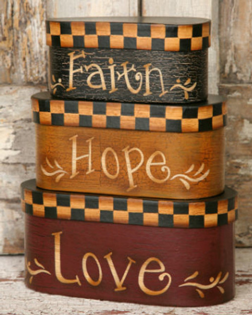 Nesting Boxes 3pc - Faith, Hope, Love