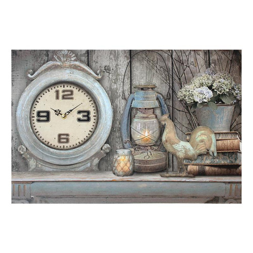 LED VINTAGE CANVAS WITH WORKING CLOCK