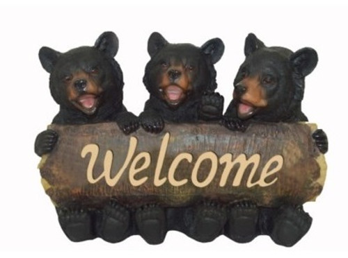 "Polyresin Bear ""Welcome"" Sign."