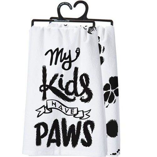 Dish Towel - My Kids Have Paws White