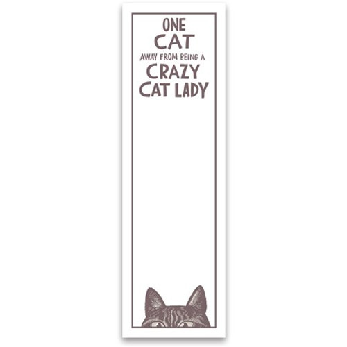 Magnetic List Notepad - One Cat Away From A Crazy Cat Lady