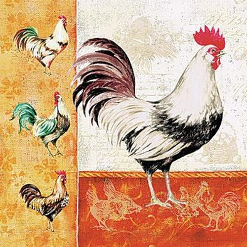 Rooster Family - Luncheon Napkin