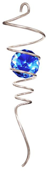 """10"""" Spiral Tail - Silver w/Blue Crystal Ball"""