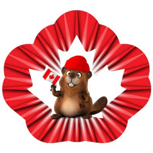 """Wind Spinner Beaver Holding a Canada Flag 12"""""""