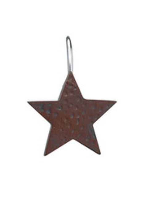 STAR SHOWER CURTAIN HOOKS - RED
