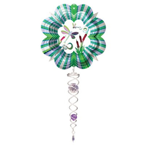"""Small Wind Spinner 6.5""""  w/Small Crystal Twister 3D DRAGONFLY"""