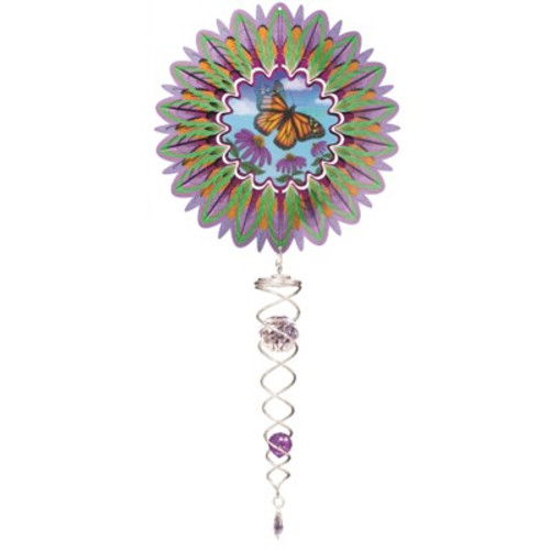 "ANIMATED BUTTERFLY SMALL WIND SPINNER 6.5"" W/SMALL CRYSTAL TWISTER"