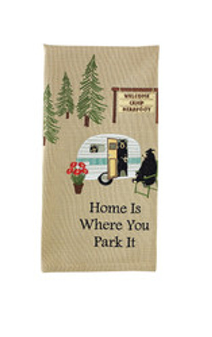 WHERE YOU PARK IT EMBROIDERED DISHTOWEL