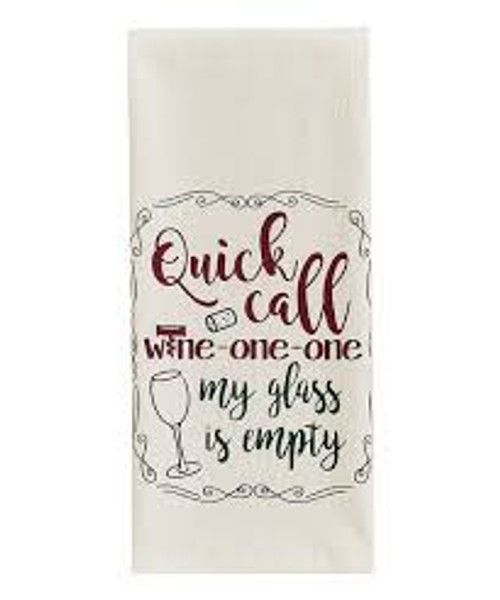 Wine One One Funny Sayings Flour Sack Dishtowel