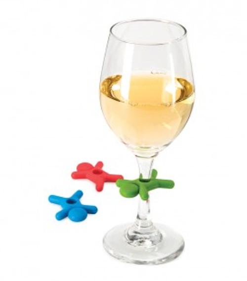 STICK MAN WINE GLASS CHARMS - 6PC