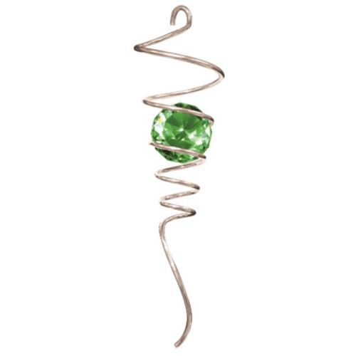 """10"""" Silver Green Crystal Ball Spiral Tail"""
