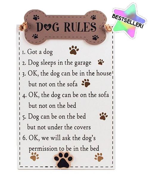 Dog Rules Wood Sign