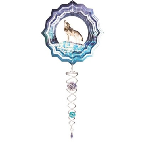 """Wolf Small Wind Spinner w/Small Crystal Twister 6.5"""" Dia"""