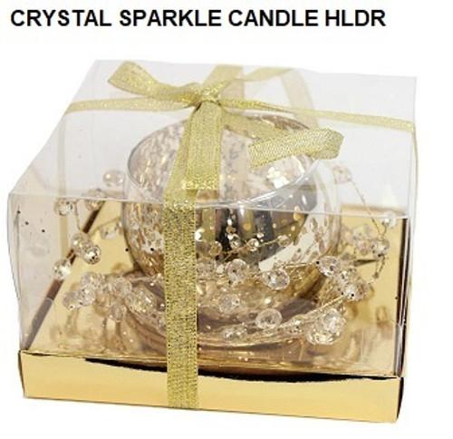 Crystal Sparkle Candle Holder - Gold