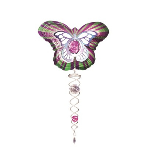 "BUTTERFLY Small 6.5"" W/SMALL PURPLE CRYSTAL TWISTER"
