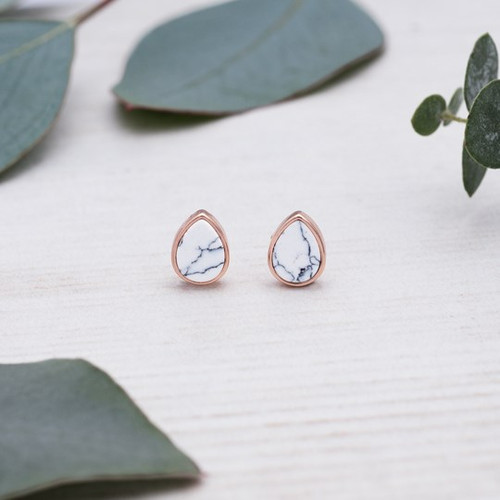 Apex Studs-rose gold/howlite