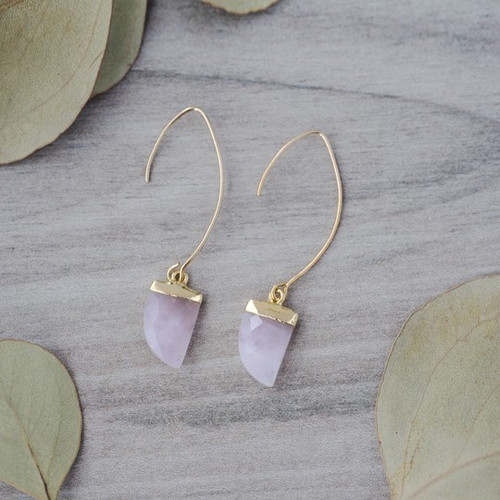 Chic Earrings-gold/rose quartz