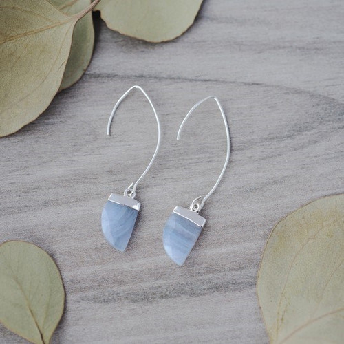 Chic Earrings-silver/blue lace agate
