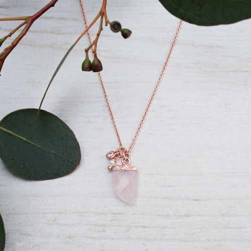 Chic Necklace-rose gold/rose quartz