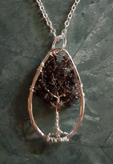 Tree of Stone Necklace-Oval silver/smokey