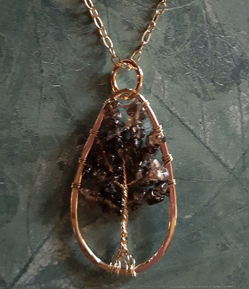 Tree of Stone Necklace-Oval Gold/Smokey