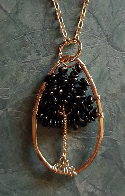 Tree of Stone Necklace-Oval Gold/Black