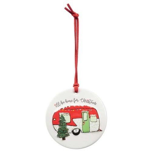 """Home For Christmas"" Camper Porcelain Ornament"
