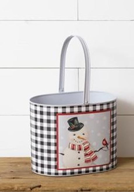 Snowman Tin - Oval With Handles - Large
