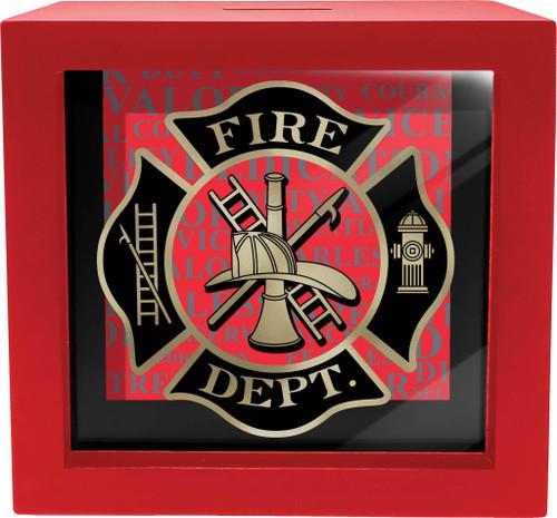 FIREFIGHTER SHADOW BOX BANK