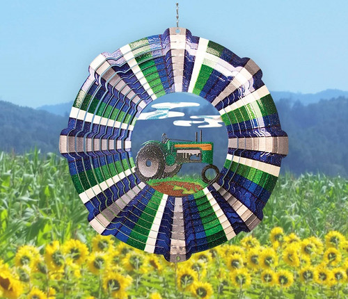 """Wind Spinner 12"""" Tractor Large Vivid Collection"""
